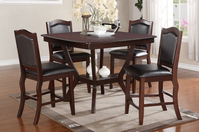 Poundex F2291 1346 5 Pc Chevalry Espresso Finish Wood Square Counter Height Dining Table Set Padded Seats