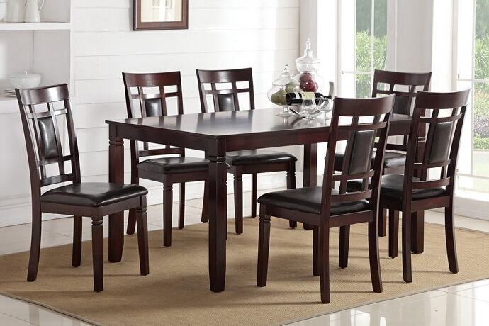 7 pc bridget ii collection espresso finish wood dining table set with grid pattern back padded seats