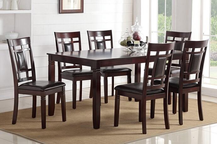 Poundex F2294 7 pc bridget ii espresso finish wood dining table set grid pattern back padded seats
