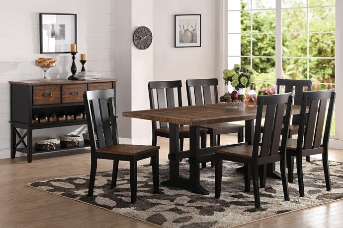 Poundex F2323-1571 7 pc bridget i two tone antiqued oak and black finish wood dining table set