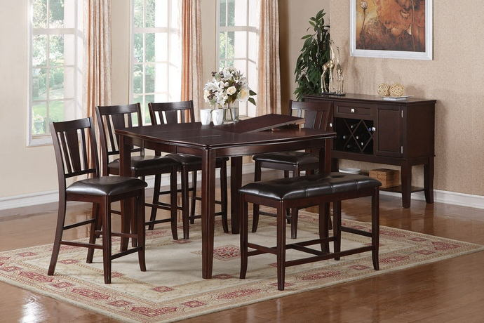 6 pc barista ii collection dark rosy brown wood finish counter height dining table with chairs and bench