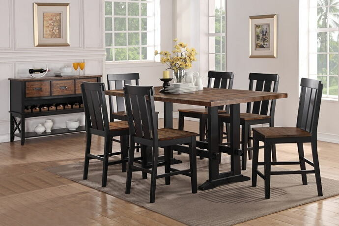 7 pc bridget i collection two tone antiqued oak and black finish wood counter height dining table set