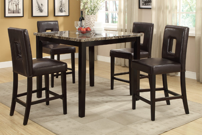 Poundex F2339-1321 5 pc square faux marble espresso finish wood counter height dining table set