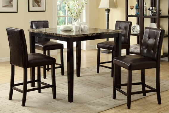 5 pc square faux marble espresso finish wood counter height dining table set with espresso faux leather upholstered chairs