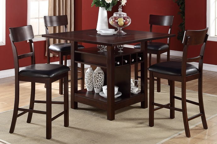 5 pc barista collection dark rosy brown wood finish counter height dining table with built in lazy susan