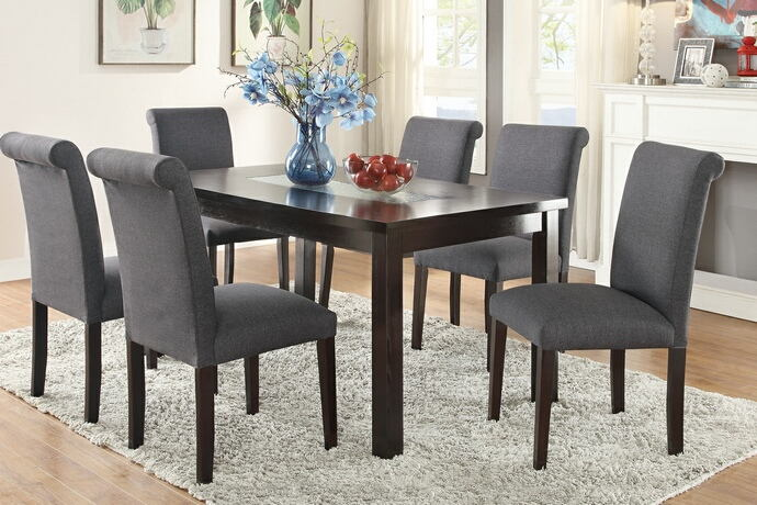 7 pc avenue ii collection espresso finish wood table with glass insert and blue grey chairs