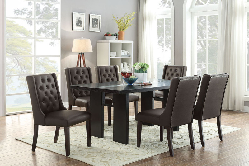 Poundex F2367-1501 7 pc turnbull espresso finish wood table dining table with glass insert and espresso chairs