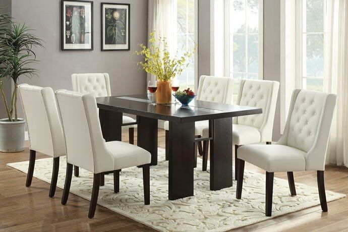 Poundex F2367-1503 7 pc turnbull espresso finish wood table dining table with glass insert and white chairs