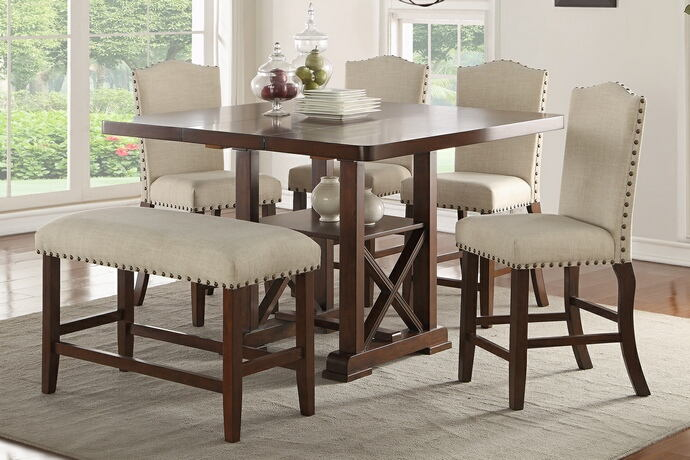 6 pc bridget iii collection dark cherry finish wood counter height dining table set with padded seats nail head trim accents