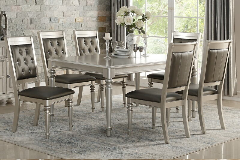 Poundex F2431-1705 7 pc Silverstry silver finish wood dining table set