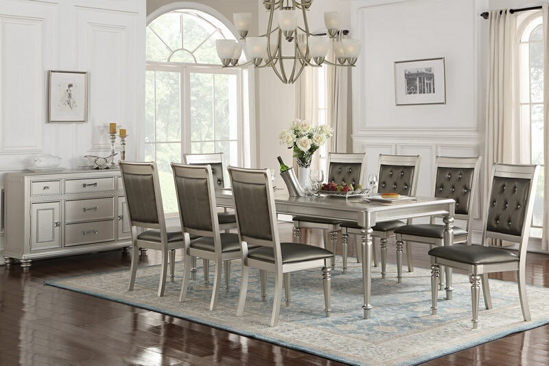 Poundex F2432-1705 7 pc silverstry II silver tone finish wood dining table set with padded seats