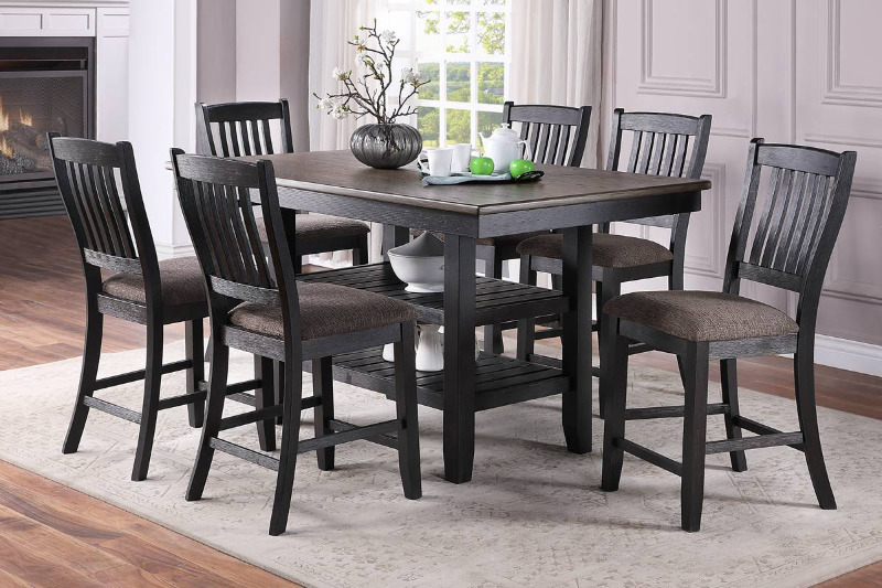 Poundex F2439-1809 7 pc conrad ii dark brown wood two tone finish counter height dining table