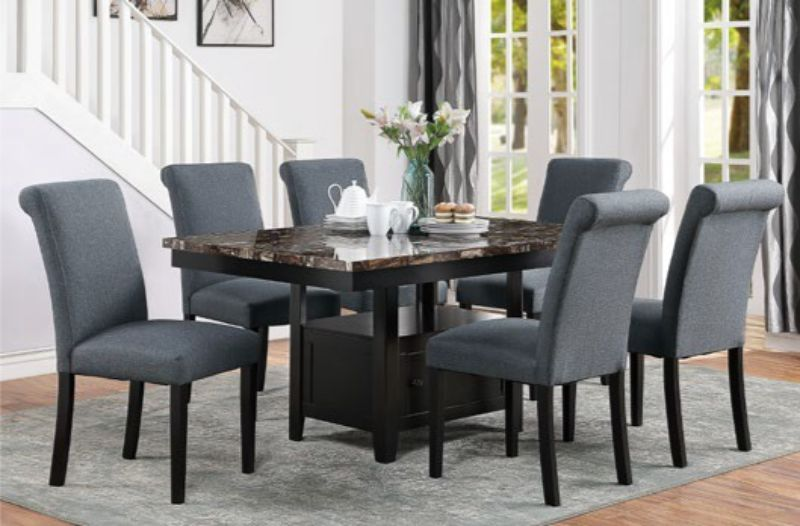 Poundex F2460-1543 7 pc Arenth espresso finish wood faux marble top dining table set