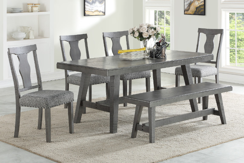Poundex F2480-1771-1775 6 pc Ophelia gray finish wood dining table set with bench
