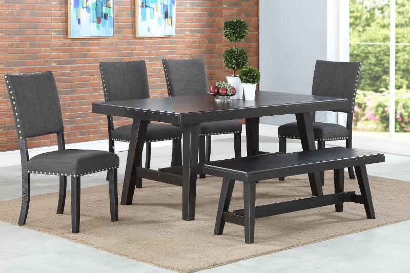 Poundex F2481-1774-1776 6 pc Ophelia black finish wood dining table set with bench