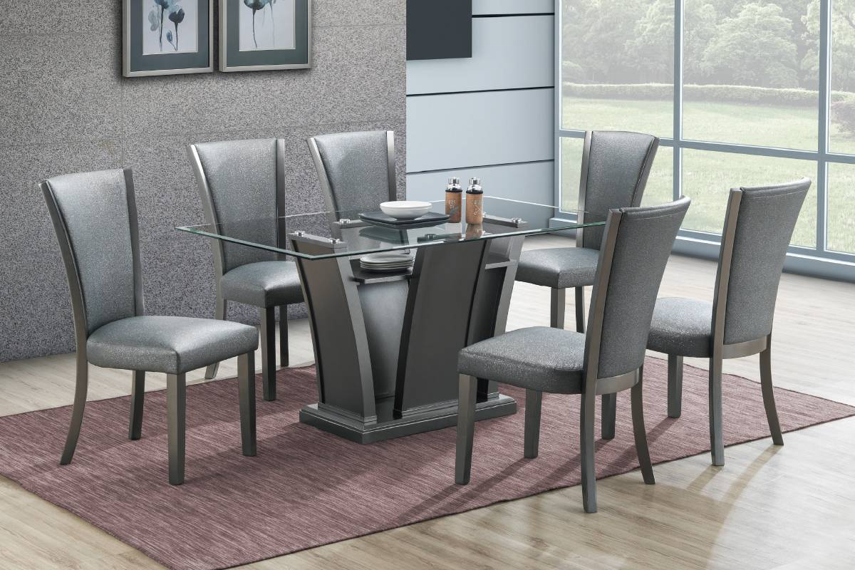 Poundex F2483-1782 7 pc park avenue ii silvery metallic finish wood dining table set with glass top