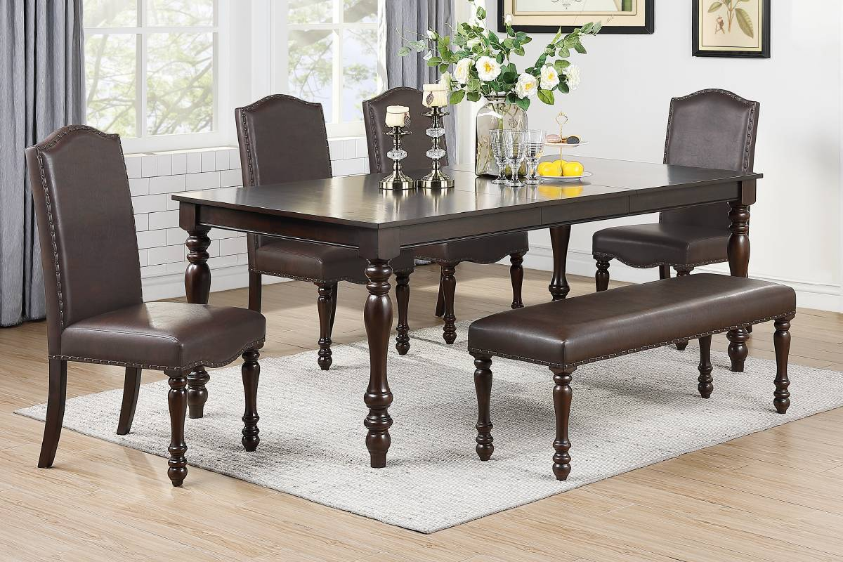 Poundex F2491-1794-95 6 pc Red barrell studio geneva brown finish wood turned legs dining table set with leaf and bench