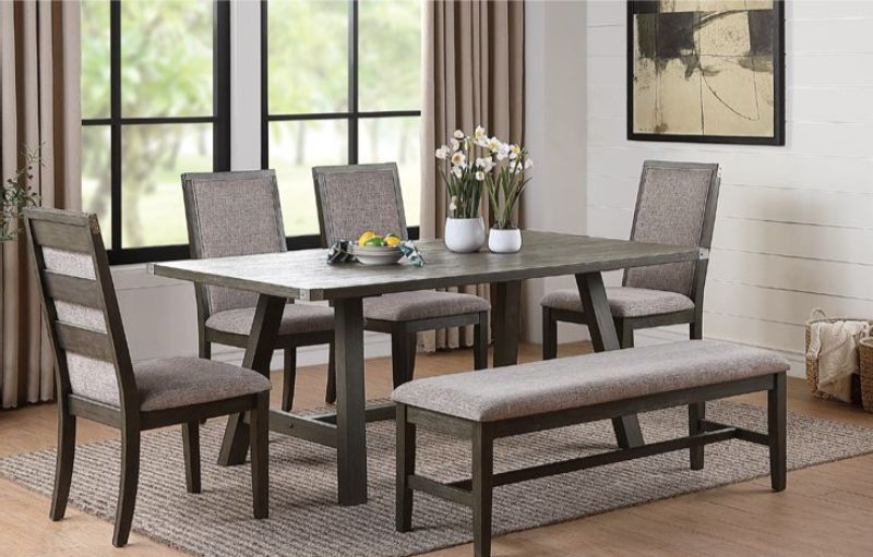 F2494-1801-02 6 pc Clive studio distressed gray wood finish dining table set with bench