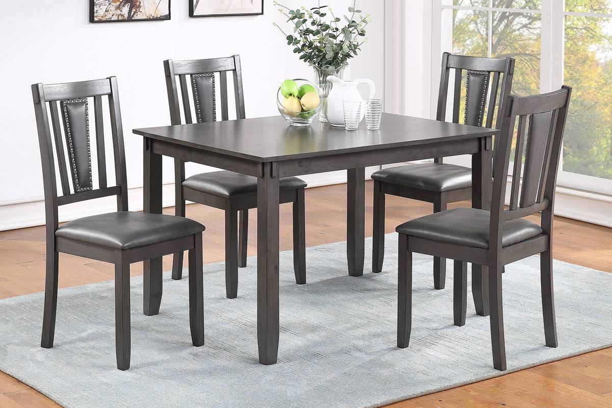 Poundex F2540 5 pc pack bridget dark finish wood dining table set padded seat chairs