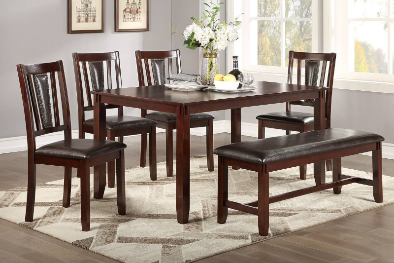 Poundex F2550 6 pc bridget ii espresso finish wood dining table set padded seat chairs and bench