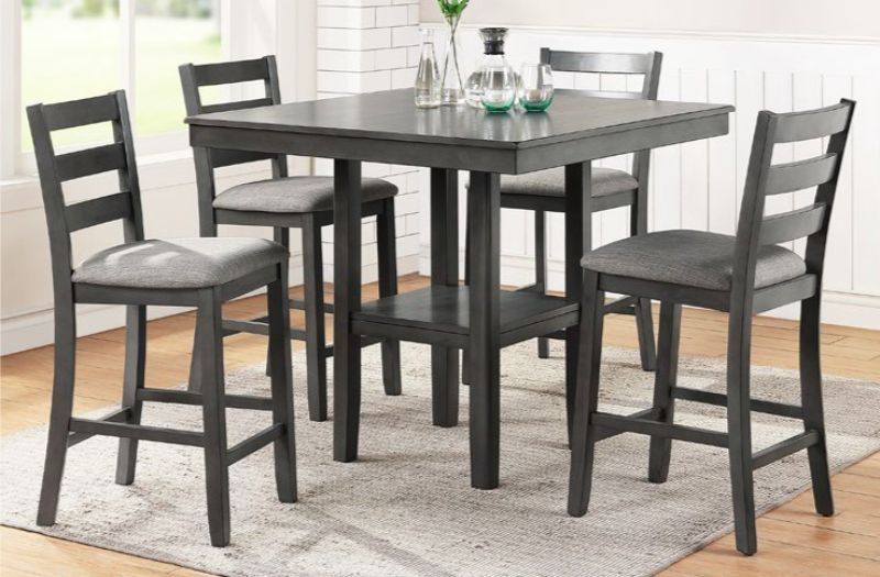 Poundex F2552 5 pc Wildon studio gray finish wood and fabric counter height dining table set