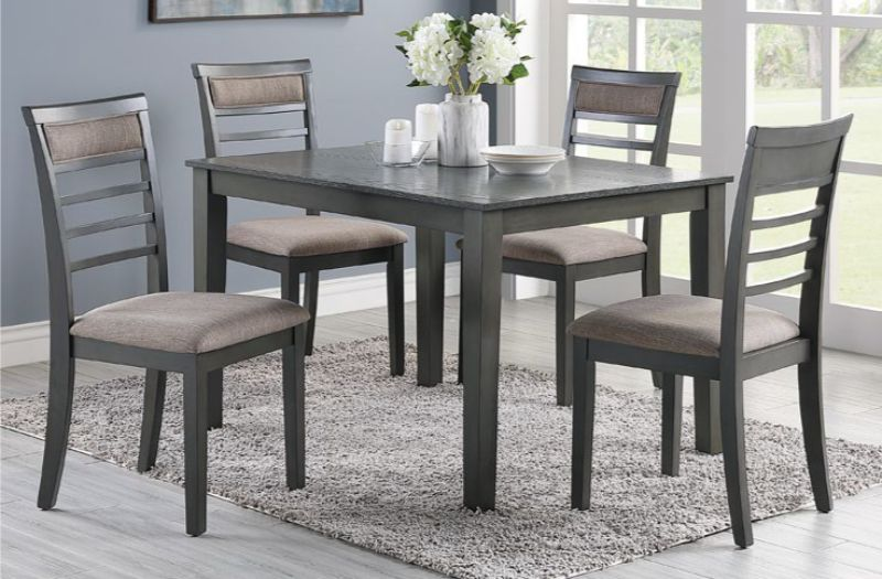 Poundex F2556 5 pc Hester elenaor gray finish wood rectangular dining table set