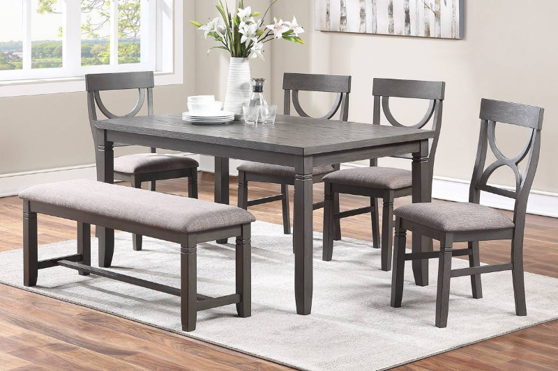 Poundex F2563 6 pc bridget ii grey finish wood dining table set padded seat chairs and bench