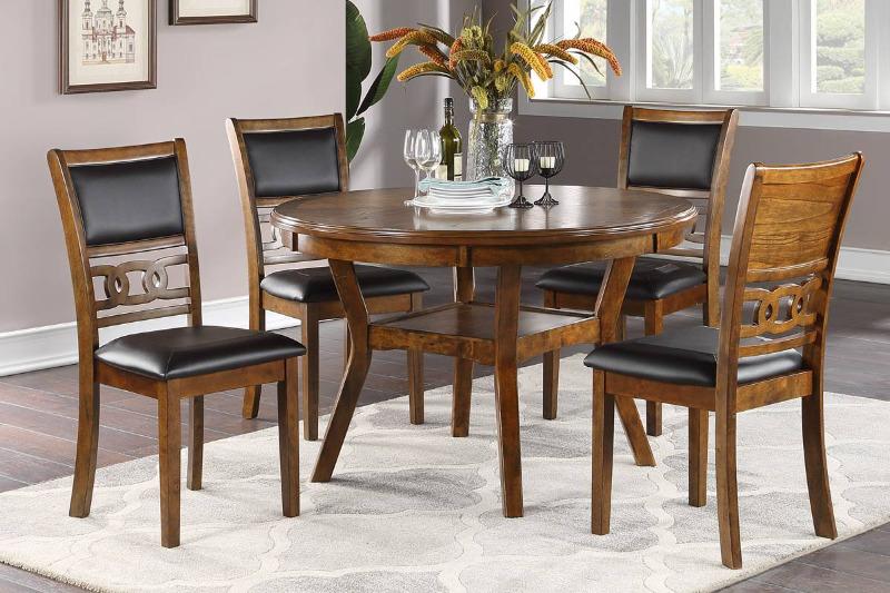 "Poundex F2565-1813 5 pc Wildon home studio walnut finish wood 47"" round dining table set"