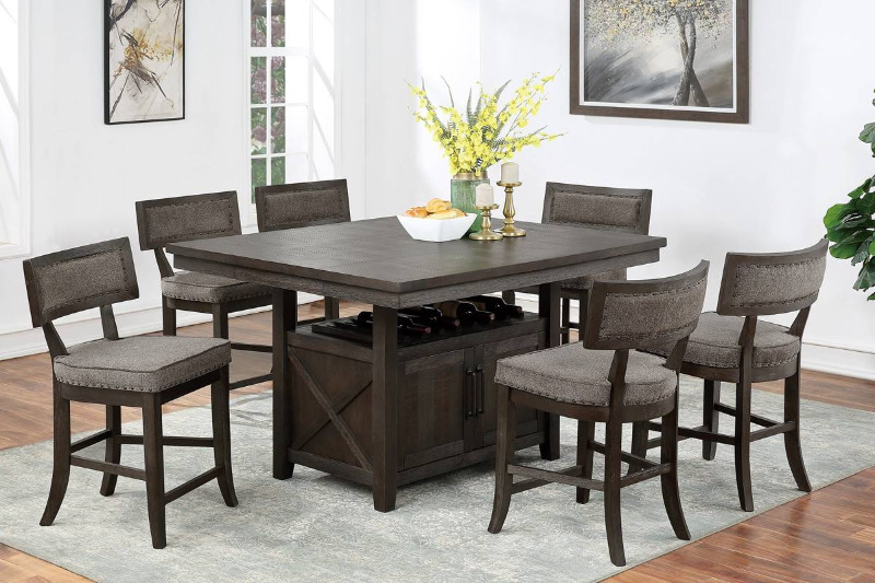 Poundex F2569-1824 7 pc Clive studios distressed gray wood finish counter height dining table set with storage base