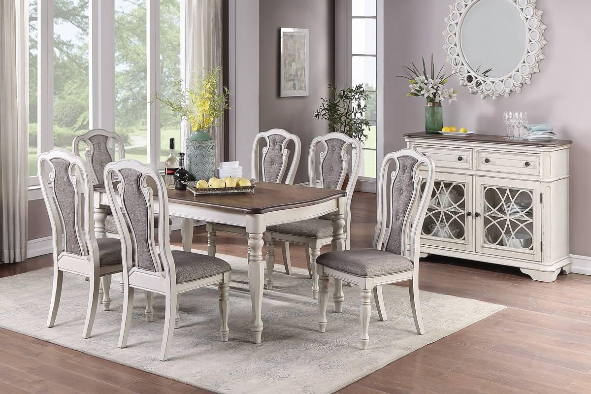 Poundex F2570-1825 7 pc Gray barn rooney kayley antique white dark oak finish wood dining table set