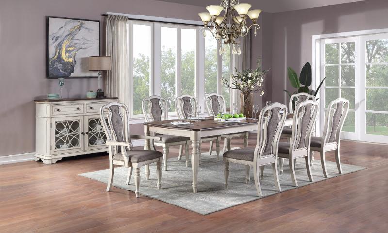 Poundex F2571-1825-26 7 pc Gray barn rooney kayley antique white dark oak finish wood dining table set