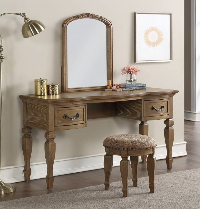 Poundex F4008 3 pc antique oak finish wood make up bedroom vanity set curved legs stool and mirror