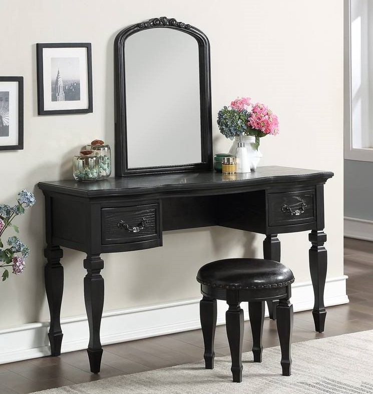 Poundex F4009 3 pc black finish wood make up bedroom vanity set curved legs stool and mirror