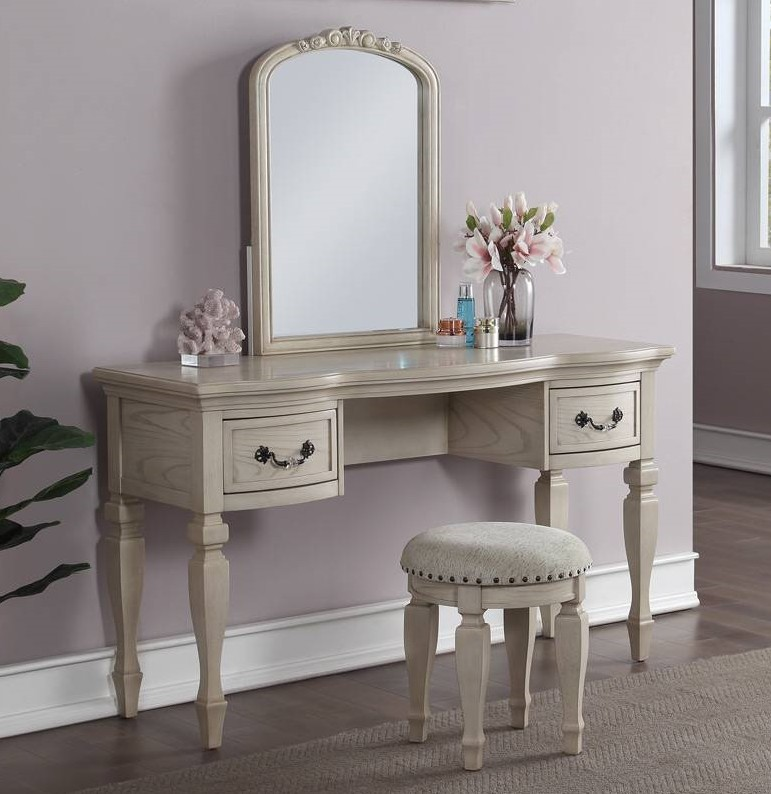 Poundex F4010 3 pc antique white finish wood make up bedroom vanity set curved legs stool and mirror
