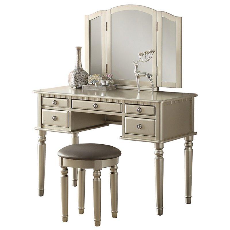 Poundex F4079 3 pc silver finish wood make up bedroom vanity set tri fold mirror
