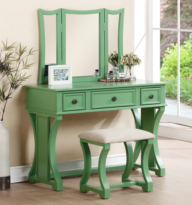 3 pc apple green finish wood make up bedroom vanity set with curved pedestal legs stool and tri fold mirror with three drawers