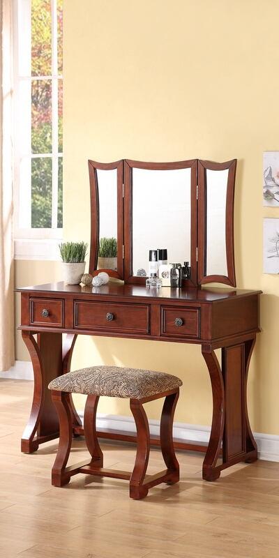 Poundex F4118 3 pc cherry finish wood make up bedroom vanity set tri fold mirror