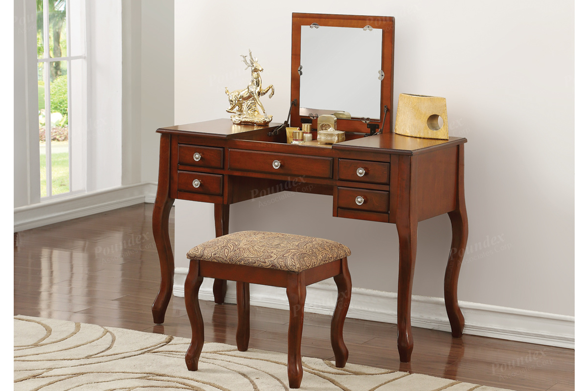 Poundex F4147 3 pc Angelica cherry finish wood make up bedroom vanity set flip up mirror