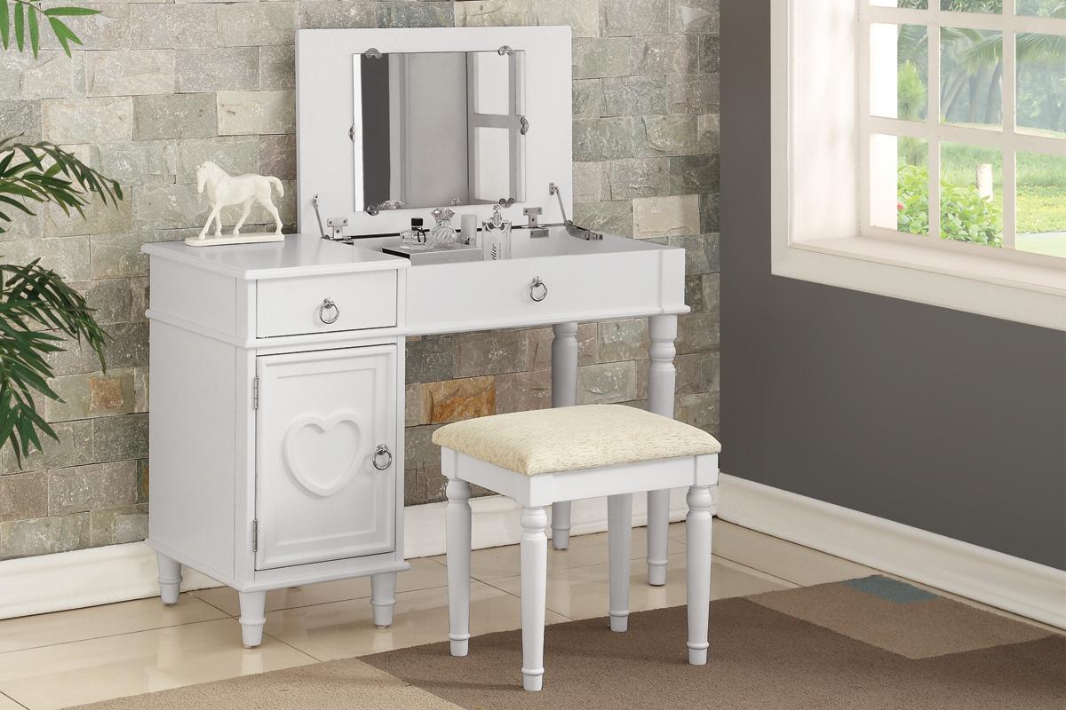 Poundex F4179 2 pc Angelica white finish wood make up bedroom vanity set flip up mirror