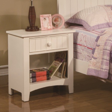 Poundex F4238 White finish wood nightstand end table with one drawer
