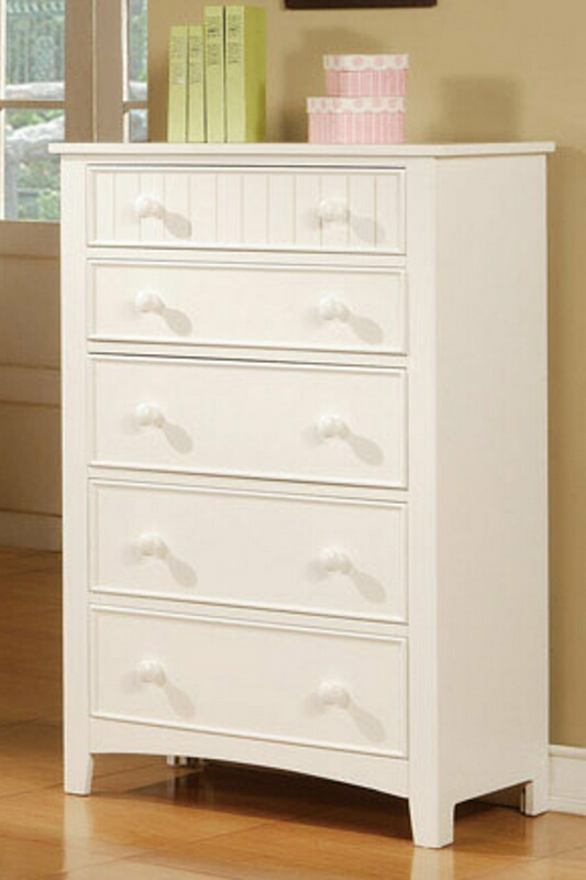 Poundex F4239 White finish wood 5 drawers chest of drawers