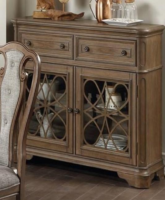 Poundex F6002 Adele maddison ii medium oak finish wood dining server buffet console