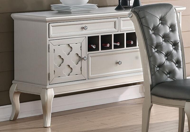 Poundex F6067 Adele maddison ii silvery tone finish wood dining server buffet console