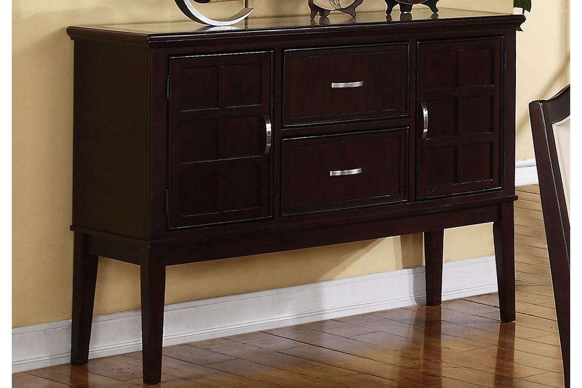 Poundex F6084 Adele maddison ii walnut finish wood dining server buffet console