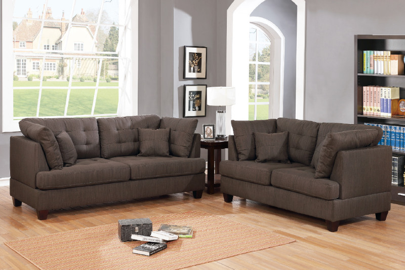 Poundex F6402 2 pc Winston porter tarakan black coffee polyfiber fabric sofa and love seat set