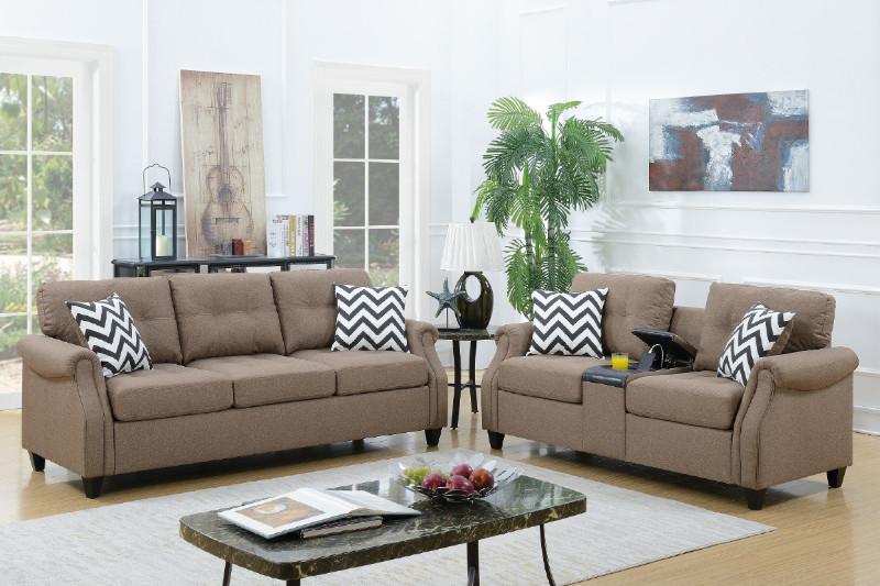 Poundex F6412 2 pc Charlton home firestone light coffee linen like fabric sofa and love seat set drink console