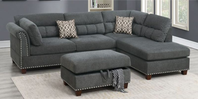 Poundex F6417 3 pc Martinique II slate velvet like fabric sectional sofa reversible chaise and ottoman