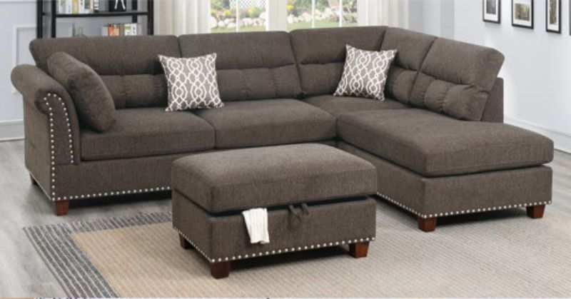Poundex F6418 3 pc Martinique II tan velvet like fabric sectional sofa reversible chaise and ottoman