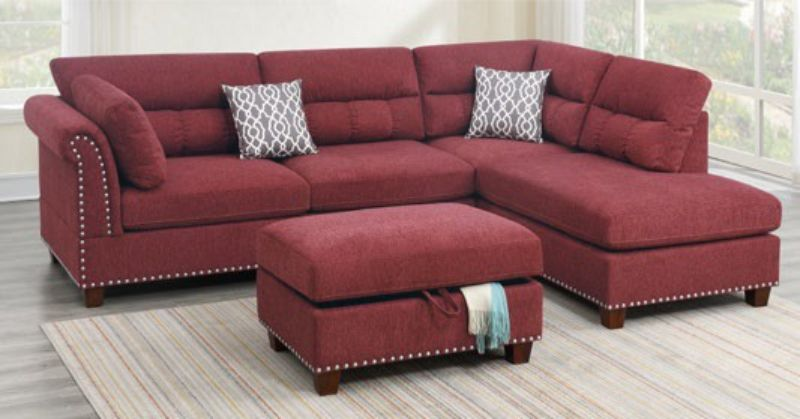 Poundex F6419 3 pc Martinique II paprika red velvet like fabric sectional sofa reversible chaise and ottoman