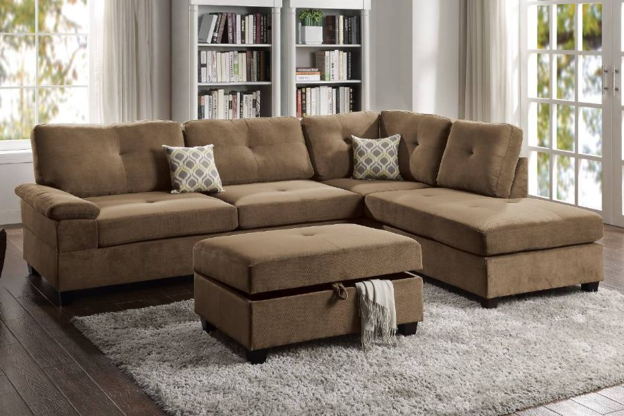Poundex F6426 2 pc Canora gene truffle waffle suede fabric reversible chaise sectional sofa